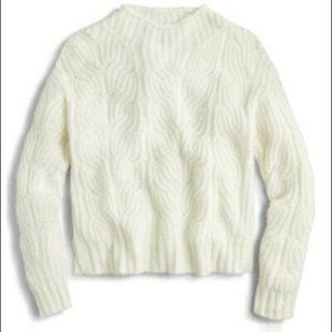 J. Crew Pointelle Cable Knit Sweater Ivory Women